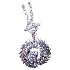 Vintage STERLING SILVER Necklace by Barse - Curled Feather Pendant - Toggle Chain