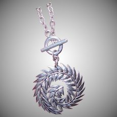 Vintage STERLING SILVER Necklace - Barse, Curled, Feather, Leaf, Pendant, Toggle Chain
