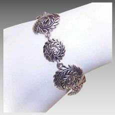 Vintage STERLING SILVER Bracelet -  Barse, Graduated Links, Curled Feather, Curled Leaf