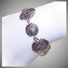 Vintage STERLING SILVER Bracelet by Barse - Leafy Swirl Design - Graduated Links