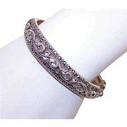 Vintage STERLING SILVER Bangle Bracelet with Marcasites - Hinged
