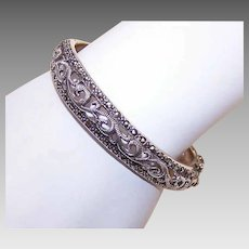 Vintage STERLING SILVER Bracelet - Marcasites, Hinged, Bangle, Size 6-1/2