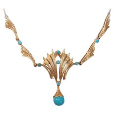 Vintage 18K GOLD Necklace - Persian Turquoise, Italian, Retro Modern, Modernist