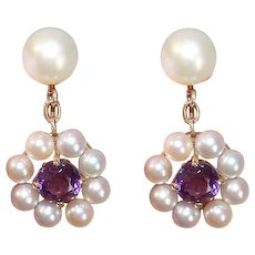 Retro 14K Gold Cultured Pearl Amethyst Earrings