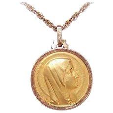 Vintage 18K GOLD Medal - Art Deco, French, Religious, Pendant, Virgin Mary