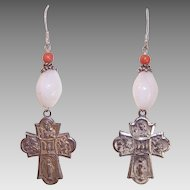 ORIGINAL DESIGN - Sterling Silver,, Coral, Mother of Pearl & Religious 4-Way Religious Medal Earrings