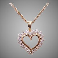 14K Gold 1CT TW Diamond Heart Pendant