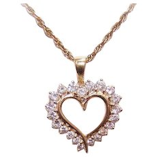 Stunning 14K Gold & 1CT TW Diamond Heart Pendant - Romantic Gift for Her