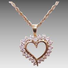 Vintage 14K GOLD Pendant - Yellow Gold, 1CT TW, Diamond, Heart
