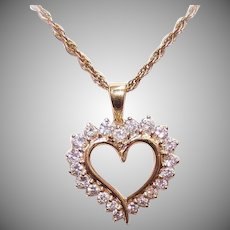 Vintage 14K GOLD Pendant - Yellow Gold, 1CT TW, Diamond, Heart