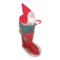 Vintage Made in Japan Paper Candy Container - Santa Claus in a Boot