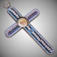 Vintage ITALIAN Micromosaic Cross - Religious Cross - Cross Pendant