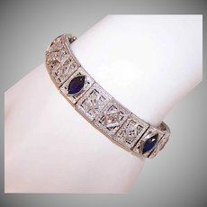"ART DECO 14K Gold Bracelet - Filigree, Link, 3.50 CT TW, Diamond, Blue Sapphire, 6-1/8"" Length"