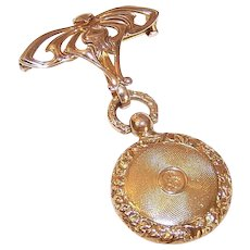 Antique Victorian 18K Gold Locket on 14K Gold Art Nouveau Watch Pin - Engraved Xmas 1900