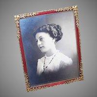 FRENCH Art Nouveau Frame - Gilt Bronze, Red Enamel, Picture Frame, Photo Frame, Travel Case