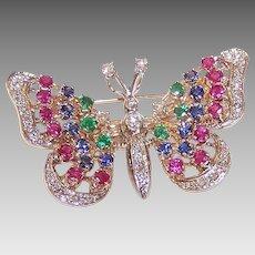 Vintage 14K GOLD Pin - 2.19CT TW, Gemstone, Butterfly, Pendant, En Tremblant