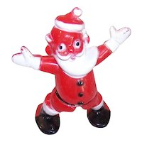 Vintage Rosbro Hard Plastic Christmas Ornament - Stand Up Santa Claus Candy Container