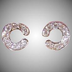 Vintage 14K GOLD Earrings - .72CT TW, Diamond, Studs, Pierced, Old Store Stock