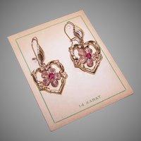 14K Gold Ruby Heart Earrings