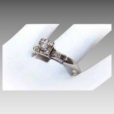 Modernist 14K GOLD Engagement Ring - .10CT, Diamond, Solitaire, .02CT TW, Shoulder Diamonds