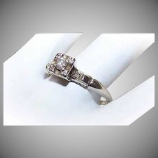 Retro 14K Gold Diamond Engagement Ring
