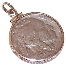 Vintage COIN CHARM - Dated 1937 Indian Head Nickel/Buffalo Reverse