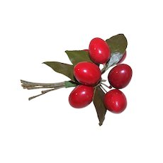 Vintage Millinery Decoration - Bunch of Red Cherries with Leaves