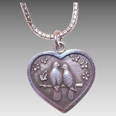 Vintage STERLING SILVER Pendant - Two Turtle Doves, Heart, Christmas, Sweetheart, Gift