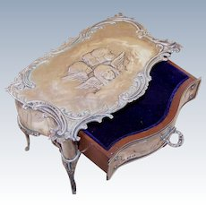 Art Nouveau STERLING SILVER Jewelry Box - English, William Comyns, Angel, Cherub, Putti, With Legs