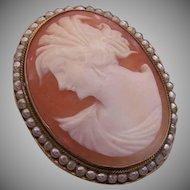 Vintage STERLING SILVER Pin - Cornelian, Shell, Cameo, Glass Pearl, Italian, Pendant