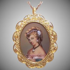 Vintage 18K GOLD Pendant - Italian, Hand Painted, Portrait Miniature, Diamond Accent