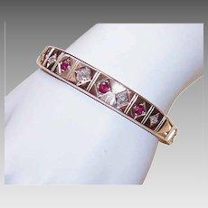 ART DECO 14K Gold Hinged Bangle Bracelet - 2.35CT TW Diamonds & Rubies
