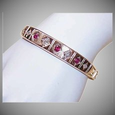 ART DECO 14K Gold Bracelet - 2.35CT TW Diamonds & Rubies, Hinged Bangle