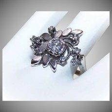RETRO MODERN 14K Gold Ring - White Gold, .71CT TW, Diamond, Cocktail Ring, Anniversary Ring
