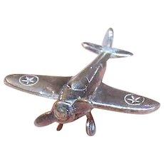 Vintage STERLING SILVER Charm - Single Propeller Plane