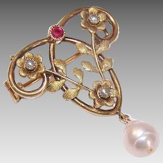 ART NOUVEAU 18K Gold Filled Pin - French, ORIA, Floral, Drop, Brooch