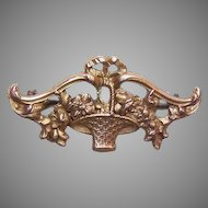 French 18K Gold Filled Basket of Flowers Pin