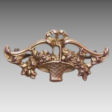French ART NOUVEAU 18K Gold Filled Pin - Basket of Flowers, French Fix