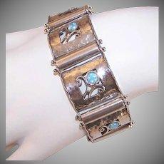 Vintage STERLING SILVER Link Bracelet by Didae - Opals, Arts & Crafts Revival