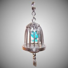 Vintage Silver Tone Metal Charm by MONET - Bird in a Cage, Bird Cage