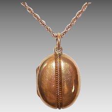 ANTIQUE VICTORIAN 18K Gold Locket - Etruscan Revival, Oval, Wirework