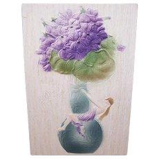 C.1900 Unused German ART NOUVEAU Postcard - Birthday Greetings - Flocked Paper - Lady on Vase Holding Violets