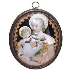 Antique Victorian Napoleon III French Religious Wall Plaque - Saint Joseph & Infant Jesus Under Glass