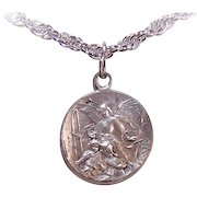 Vintage FRENCH SILVERPLATE Religious Medal or Pendant or Charm - Saint Joseph and Guardian Angel