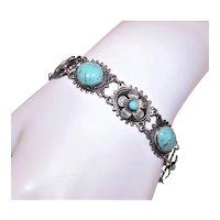 Art Deco Silverplate Turquoise Glass Cab Floral Costume Bracelet with Snap Closure