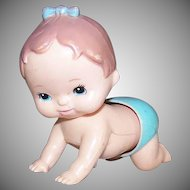 Vintage BABY KITSCH - Crawling Plastic Baby Wind Up Toy by Tomy