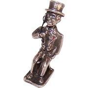 Vintage STERLING SILVER Charm - Charlie McCarthy, Edgar Bergen Puppet, Mechanical