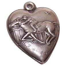 Vintage STERLING SILVER Charm - Puffy Heart, Horse Racing, Thoroughbred, Race Horse, Horse Race