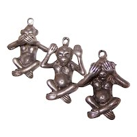 Trio of See Hear Speak No Evil Sterling Silver Monkey Charms