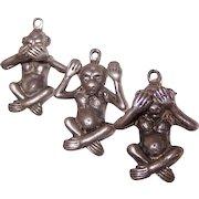 Vintage STERLING SILVER Charms - Monkeys, See No Evil, Speak No Evil, Hear No Evil